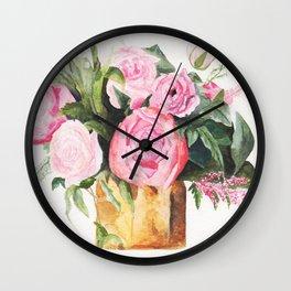 Heather's Arrangement Watercolor Painting Wall Clock