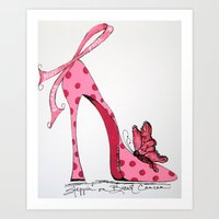 Steppin' on Breast Cancer Art Print