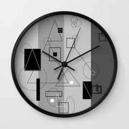 Gray Geometry 3 Wall Clock