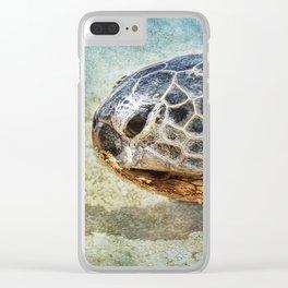 Green Sea Turtle Portrait Clear iPhone Case