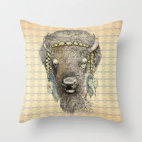 bison Throw Pillows featuring Bison by dogooder