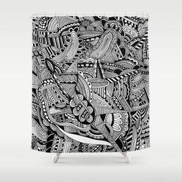 Black and White Doodle Art #2 Shower Curtain