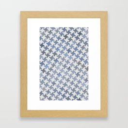 MODERN HOUNDSTOOTH (BLUE), hand-painted by Frank-Joseph Framed Art Print