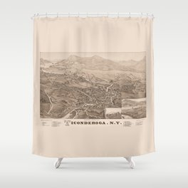 Ticonderoga Map 1884 (Sepia) Shower Curtain