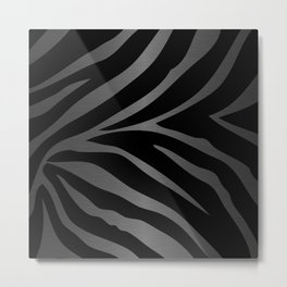 Black & Gray Metallic Zebra Print Metal Print