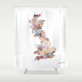 Great Britain map Shower Curtain