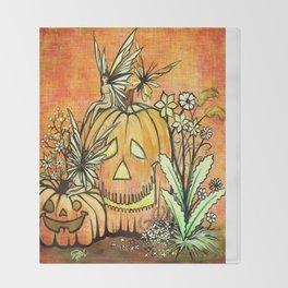 Spunky Pumpkin Fairies Throw Blanket