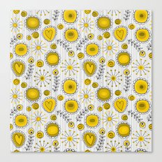 Whimsical flowers in yellow Canvas Print
