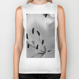White Lily Flower Close Up Biker Tank
