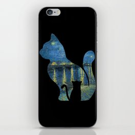 Cat Watching The Starry Night Over The Rhone - Van Gogh Painting iPhone Skin