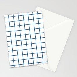 Minimalism Window Pane Grid, Blue on White Stationery Cards