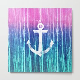 Nautical Anchor Pink Teal Watercolor Stripes Drips Metal Print