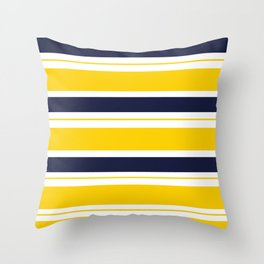 Yellow and Blue Horizontal Lines Stripes Throw Pillow