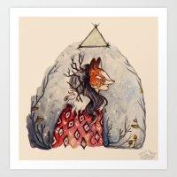 kitsune Art Prints featuring Kitsune by Hannah Margaret Illustrations