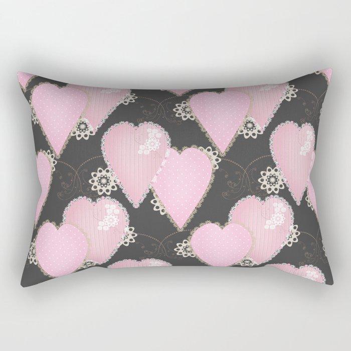 Retro . Applique. Textile pink hearts on a grey background . Patchwork . Rectangular Pillow