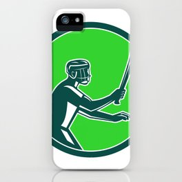 Hurling Player Icon Retro iPhone Case