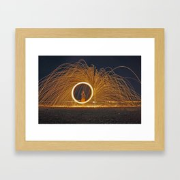spinning fire Framed Art Print