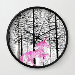 Pink unicorn in the wood Wall Clock