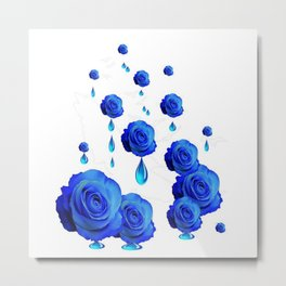 DRIPPING WET BLUE ROSES  DESIGN Metal Print