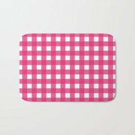 Farmhouse Gingham in Dark Pink Bath Mat