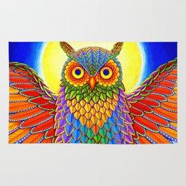 Colorful Rainbow Owl Rug