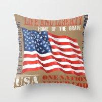 patriotic Throw Pillows featuring Vintage Patriotic by Debbie DeWitt