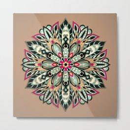Tribal Geometric brown and green Mandala Metal Print