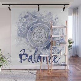Blue Watercolor Mandala Painting with Word Balance Wall Mural