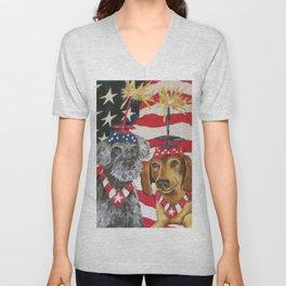 4th of July Celebration Dog Style Unisex V-Neck