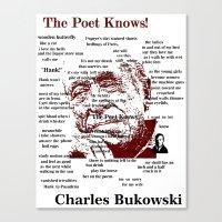 bukowski Canvas Prints featuring Charles Bukowski by brett66