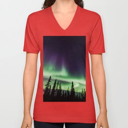 Aurora during geomagnetic storm in Yellowknife, Canada Unisex V-Neck