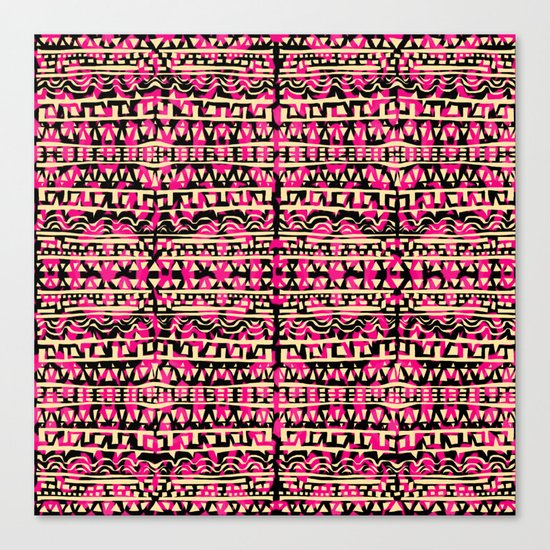 Tapestry Pattern Small Scale - Golden Pink Canvas Print