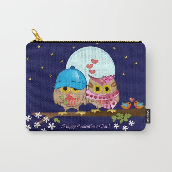 Blue moon Valentine's Owls Carry-All Pouch