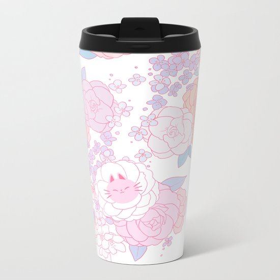 Feline Florals Metal Travel Mug