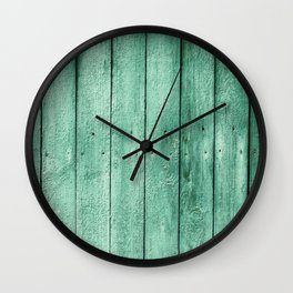 green wooden fence Wall Clock