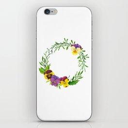 Watercolor pansies wreath iPhone Skin