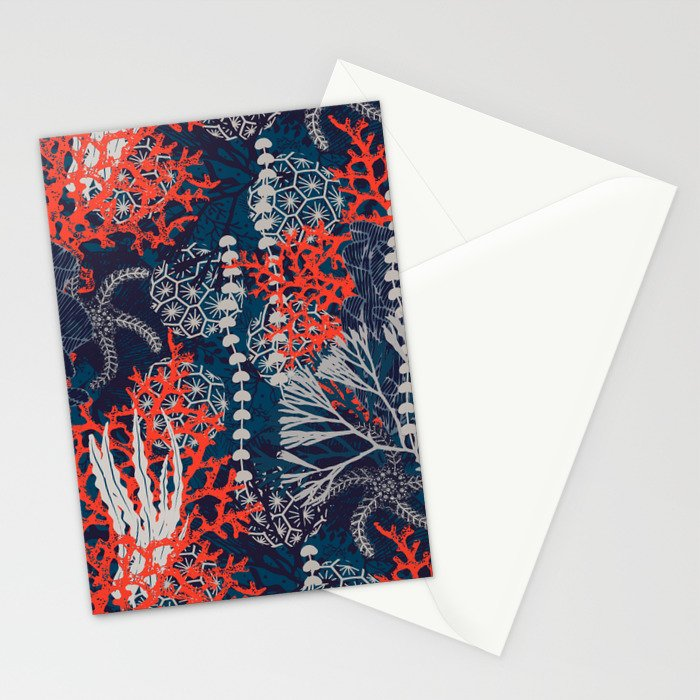 Corals and Starfish Stationery Cards