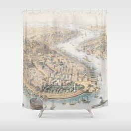 Vintage Pictorial Map of New York City (1852) Shower Curtain