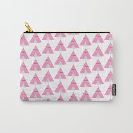 Hand drawn digital pink tribal teepee pattern. Carry-All Pouch