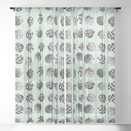 Beach Seashell pattern in black and turquoise Sheer Curtain