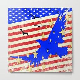 JULY 4TH PATRIOTIC BLUE EAGLE & STARS Metal Print