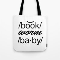 bookworm Tote Bags featuring Bookworm Baby by book quay