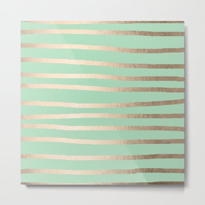 Stripes Metallic Gold Mint Green Metal Print