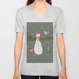 Cute Christmas Snowman & Birds Winter Scene Unisex V-Neck