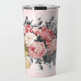 Romantic vintage roses and geometric design Travel Mug