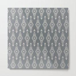 Geometric Art, Aztec Prints, Charcoal Gray, Wall Art Boho Metal Print