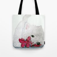 westie Tote Bags featuring Tessie Westie Dog by Rachel's Pet Portraits
