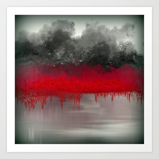 Red Garden on the Lake Impressionism Art Print