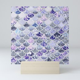 Purple and Ultra Violet Trendy Glitter Mermaid Scales Mini Art Print