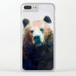 Wild Bear Low Poly Geometric Minimalist Design Clear iPhone Case
